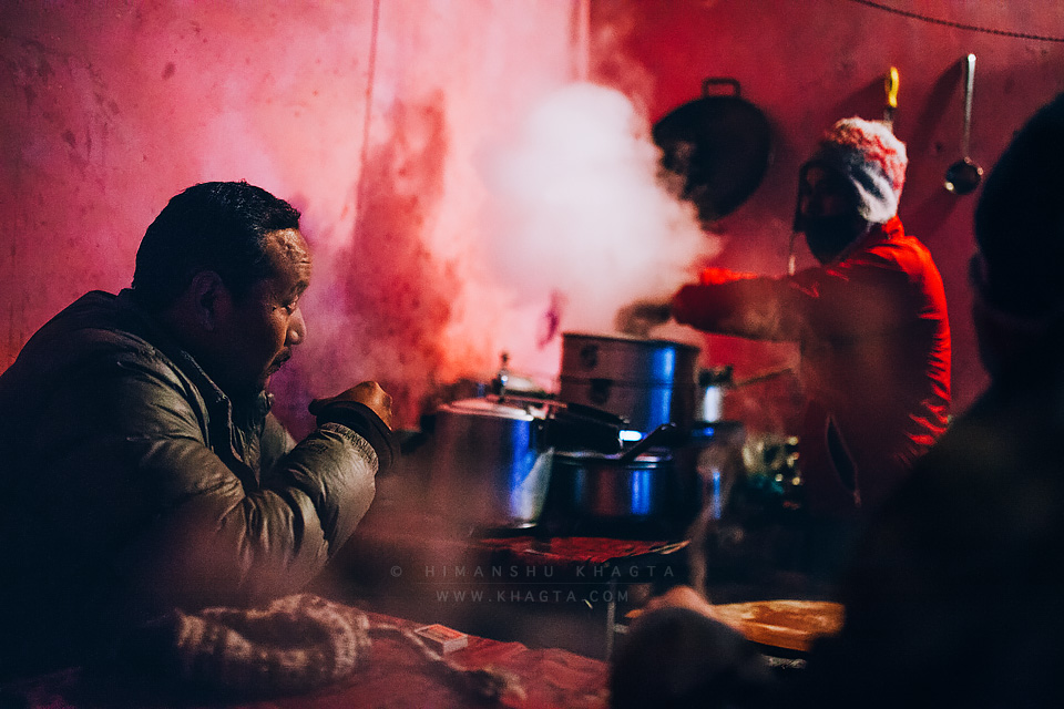 On a cold winter evening, people enjoying tea at Dolma Food Corner at Kaza village of Spiti. In the winters, when the temperature drops down to -20˚C, only few food joints are open in Spiti.
